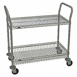 Wire Utility Cart,Chrome,39in.H x 36in.L