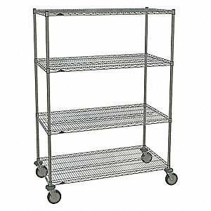 "Mobile Wire Shelving Unit, 48""W x 24""D x 67-7/8""H, 4 Shelves, Chrome Plated Finish, Silver"