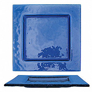 Square Plate, Blue, 9x9 In, PK24