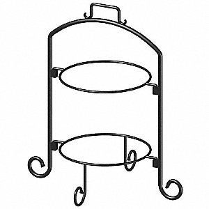 Round Plate Stand,Black,Iron,2 Tier,9 In