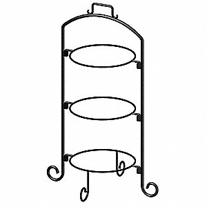 Round Plate Stand,Black,Iron,3 Tier,9 In
