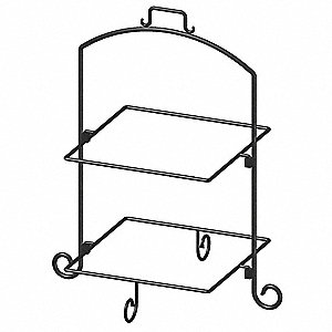 Square Plate Stand,Blk,Iron,2 Tier,13In