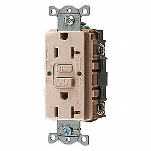 20A Industrial Environments Receptacle, Almond; Tamper Resistant: No