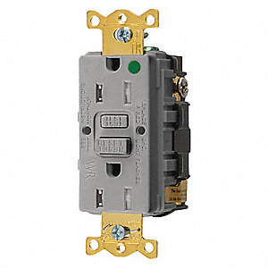 GFCI Receptacle, 15A Amps, NEMA Configuration: 5-15R, Outlet Type: Decorator, Self-Testing: Yes