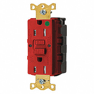 15A Heavy Use Hospital Grade GFCI Receptacle, Red&#x3b; Tamper Resistant: Yes