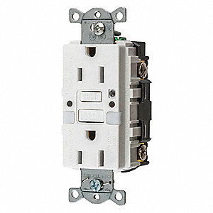 15A Industrial Environments Receptacle, White; Tamper Resistant: No