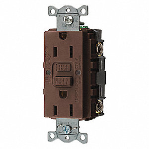 GFCI Receptacle,15A,125VAC,5-15R,Brown