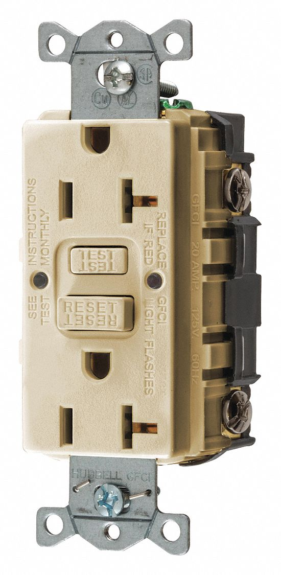 hubbell wiring device kellems 20a industrial receptacle ivory Single GFCI Receptacle zoom out reset put photo at full zoom then double click