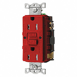 GFCI Receptacle,15A,125VAC,5-15R,Red
