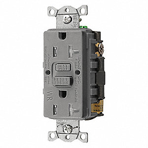 GFCI Receptacle, 20A Amps, NEMA Configuration: 5-20R, Outlet Type: Decorator, Self-Testing: Yes