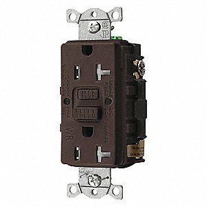 GFCI Receptacle,20A,125VAC,5-20R,Brown