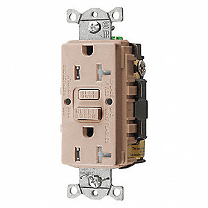 20A Commercial Environments GFCI Receptacle, Almond&#x3b; Tamper Resistant: Yes