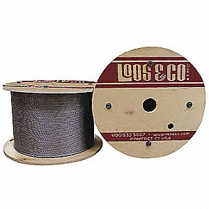 "Cable, 1/8"" Outside Dia., 316 Stainless Steel, 1 x 7, Working Load Limit 328 lb."