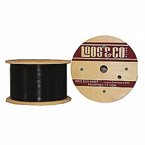 Cable, 50 ft, Black Vinyl, 3/16 in, 840 lb