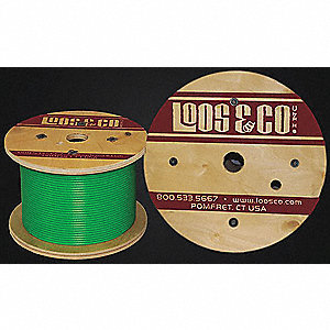 Cable, 250 ft, Green Vinyl, 1/8 in, 340 lb