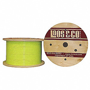 Cable, 100 ft, Yellow Vinyl, 1/16 in, 96 lb