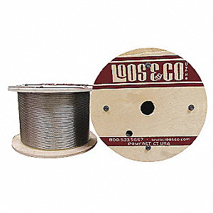 "Cable, 3/8"" Outside Dia., 316 Stainless Steel, 250 ft. Length, 1 x 19, Working Load Limit: 2960 lb."
