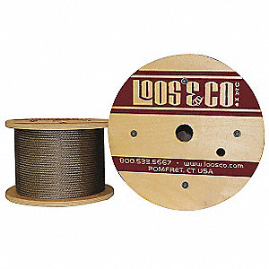"Cable, 1/8"" Outside Dia., 304 Stainless Steel, 7 x 7, Working Load Limit 340 lb."