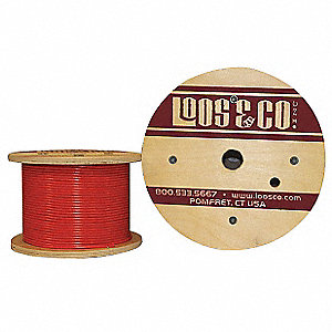 Cable, 1/8'' Outside Dia., 304 Stainless Steel, 100 ft. Length, 7 x 7, Working Load Limit: 96 lb.