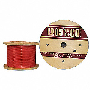 Cable, 100 ft, Orange Vinyl, 3/32 in, 184 lb