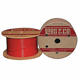Cable, 100 ft., Red Nylon, 3/32 in., 184 lb.