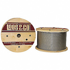 Cable, 1/4'' Outside Dia., 304 Stainless Steel, 100 ft. Length, 7 x 19, Working Load Limit: 740 lb.