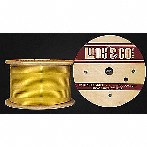 Cable, 100 ft, Yellow Vinyl, 1/4 in, 1280 lb