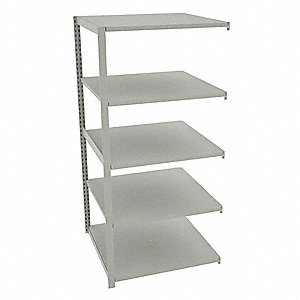 "Add-On Boltless Shelving with Steel Decking, 5 Shelves, 36""W x 36""D x 76""H"