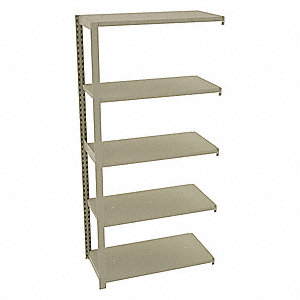 "Add-On Boltless Shelving with Steel Decking, 5 Shelves, 36""W x 18""D x 76""H"