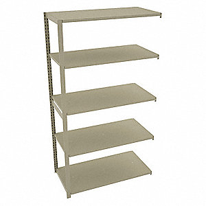"Add-On Boltless Shelving with Steel Decking, 5 Shelves, 48""W x 24""D x 88""H"