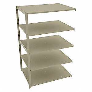 "Add-On Boltless Shelving with Steel Decking, 5 Shelves, 48""W x 36""D x 76""H"