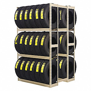 "Steel Double Sided Boltless Tire Rack, Shelf Capacity 2000 lb., 84"" H  x 60"" W x  42"" D"