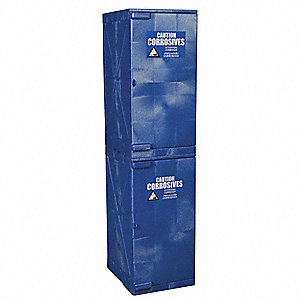 "Stackable, 24 gal. Capacity, 72"" x 18"" x 22"", Blue, Polyethylene"