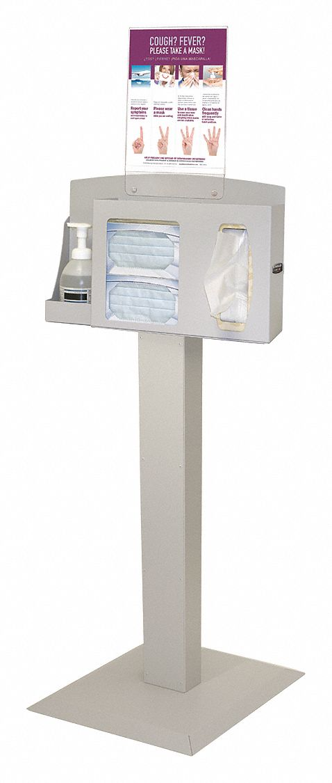 Respiratory Hygiene Station, Number of Compartments 3, Beige Steel