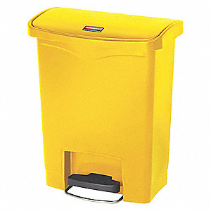Wastebasket,Rectangular,8 gal.,Yellow