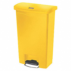 "Slim Jim® 13 gal. Rectangular Flat Trash Can, 28-5/16""H, Yellow"