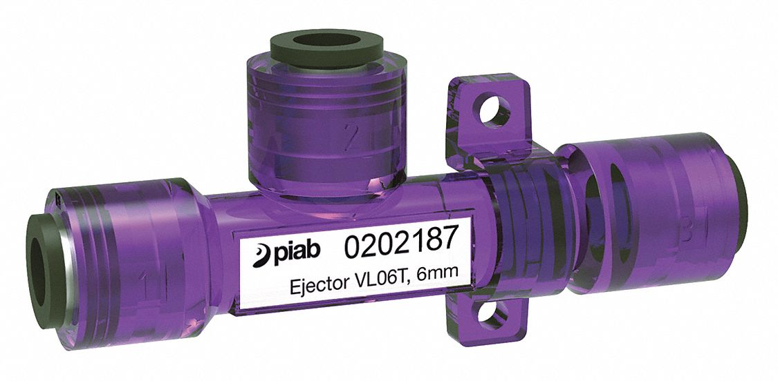Vacuum Ejector, Inline with 6mm Pressure Port Size and 16.0 lpm Vacuum Flow Rate