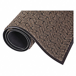 "Indoor Entrance Mat, 3 ft. L, 24"" W, 3/8"" Thick, Rectangle, Brown"