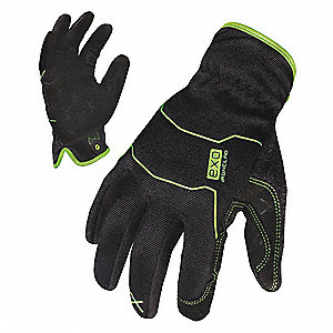 General Utility Mechanics Glove, Embossed Synthetic Leather Palm Material, Black, XL, PR 1