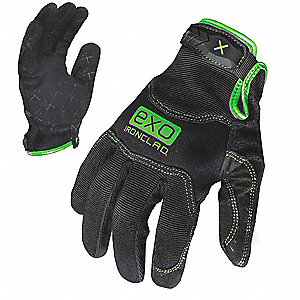 General Utility Pro Gloves, Embossed Synthetic Leather Palm Material, Black, L, PR 1