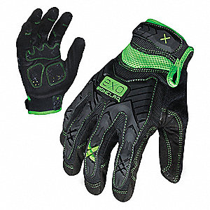 General Utility Impact Utility Glove, Embossed Synthetic Leather, Foam Padding Palm Material, Black,