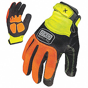 High Visibility Gloves, Embossed Synthetic Leather, Duraclad Palm Material, High Visibility Orange/H