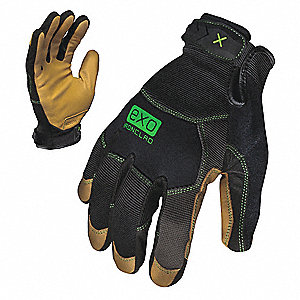 General Utility Mechanics Gloves, Genuine Goatskin Leather Palm Material, Gray/Brown, L, PR 1