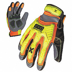 High Visibility Mechanics Glove, Embossed Synthetic Leather, Foam Padding, Duraclad Palm Material, H
