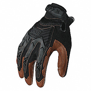Impact Resistant Gloves, Goatskin Palm Material, Black, Brown, 1 PR