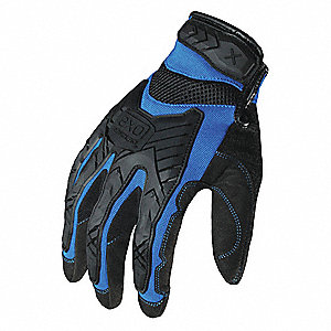Impact Resistant Gloves, Synthetic Leather Palm Material, Blue, Black, 1 PR