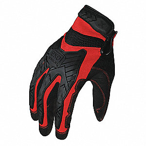 Impact Resistant Gloves, Synthetic Leather Palm Material, Red, Black, 1 PR