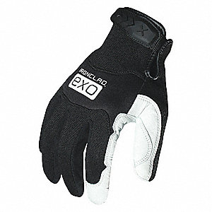 Leather Mechanics Gloves, Genuine Goatskin Leather Palm Material, Black/White, L, PR 1