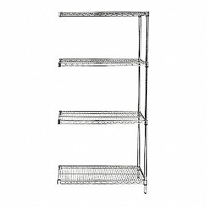 "Wire Shelving,Add-On,54"" H,Chrome"