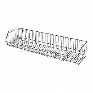 Silver Stacking Basket, Steel, Chrome Plated Finish, 1 EA